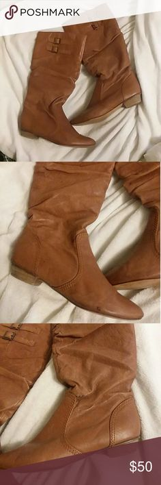 Knee high Cognac Brown Steve Madden Brandyy Boots Knee high boots cognac Steve Madden  A few dark spots shown in pictures but overall great condition! Steve Madden Shoes Over the Knee Boots