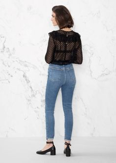 & Other Stories image 3 of Cropped High-Rise Jeans in Light Blue