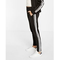 Express Contrast Athletic Stripe Jogger Pant ($60) ❤ liked on Polyvore featuring activewear, activewear pants and black