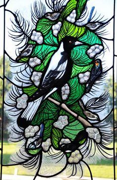 Magpie and friends stained glass Catherine Blamey Wheeler.