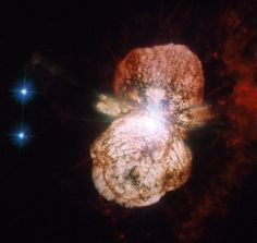 The Eta Carinae binary star system: the larger of the two stars in the system is a huge and unstable star that is nearing the end of its life, and it was observed in the 19th century becoming brighter until 1843, when this outburst occurred - its effects can be studied today. The huge clouds of matter thrown out a century and a half ago, known as the Homunculus Nebula, have been a regular target for the NASA/ESA Hubble Space Telescope
