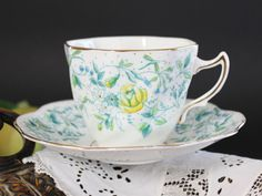 Rosina Tea Cup and Saucer Vintage Teacup, 1950s Bone China, Blue on White Chintz 13219