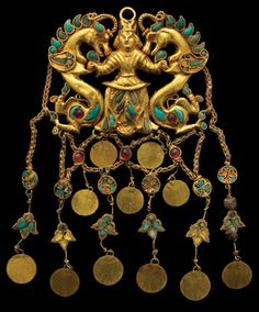 King and dragons:Bactrian gold, 1st century BCE, Bactria, Afghanistan.