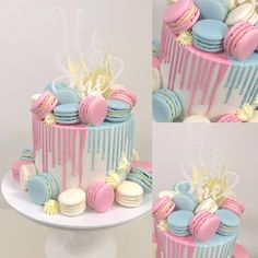 65 Ideas For Baby Onesies Cake Gender Reveal Gateau Baby Shower, Deco Baby Shower, Baby Shower Cakes, Pretty Birthday Cakes, Birthday Cake Decorating, Birthday Cake Girls, Gender Reveal Party Decorations, Baby Gender Reveal Party, Baby Reveal Cakes
