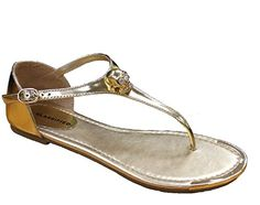 d019f8237 Merino Women s Gold Metal skull Decor Buckle T-Strap. Flip Flop Sandals