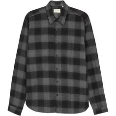 Oliver Spencer New York Checked Flannel Shirt - Size 15.5 ($165) ❤ liked on Polyvore featuring men's fashion, men's clothing, men's shirts, men's casual shirts, mens curved hem t shirt, mens shirts, mens checked shirts and mens charcoal shirt