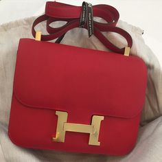 Hermes 24cm Constance in Rouge Casaque Epsom leather with gold hardware
