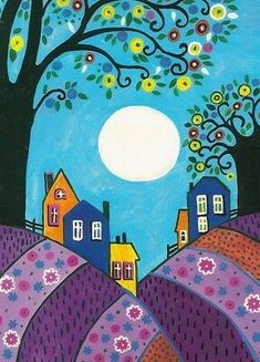 Folk Art Print of Painting RYTA Lavender Hills Trees Abstract Moon Houses Art Beauté, Karla Gerard, Naive Art, Fabric Painting, Painting Tips, Moon Painting, Abstract Paintings, Painting Art, Watercolor Painting