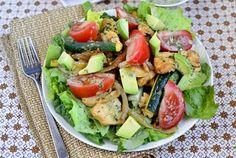 Chicken Fajita Sizzling Salad with Cilantro-Lime Vinaigrette by Iowa Girl Eats