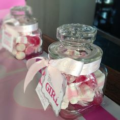 Pink And White Sweets In A Jar.   Thank You Gift For A Baby Shower