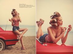 red bmw cola pin up