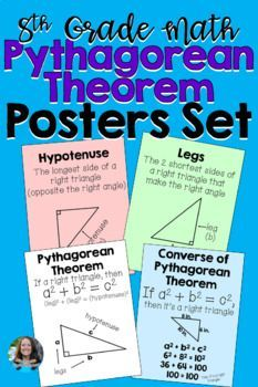 This set of 4 posters serve to provide visuals and reminders for students of the following vocabulary terms: Pythagorean Theorem, Converse of the Pythagorean Theorem, hypotenuse, and leg. They are black and white and can be printed on card stock from your own printer, or can be printed as large as 1...
