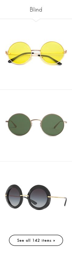 """""""Blind"""" by xseamacx ❤ liked on Polyvore featuring accessories, eyewear, sunglasses, glasses, multi colored sunglasses, retro sunglasses, round metal sunglasses, round metal frame glasses, metal sunglasses and accessories - glasses"""