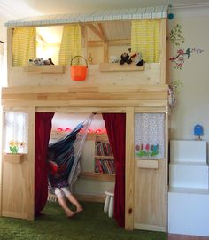 Turn Plain Jane IKEA Bunk Bed to Indoor Kids Cabin. This would be awesome with a swirl slide coming down from the top. I also would not put the swing seat in there. Cama Ikea Kura, Ikea Mydal, Ikea Hack Lit, Ikea Hacks, Ikea Bed, Ikea Loft Bed Hack, Kids Bunk Beds, Loft Beds, Best Ikea