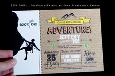 PRINTED Rock Climbing Birthday Invitations (Double-sided) (Venue of your choice) by ErinDipityPrints on Etsy Rock Climbing Party, Party Rock, 9th Birthday, Birthday Ideas, Birthday Parties, Birthday Invitations, Etsy Shop, Prints, Cards