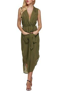 677f5461a9c Bluetime Womens Casual Plus Size Sleeveless Tie Waist Slit Chiffon Top Dress  L Army Green