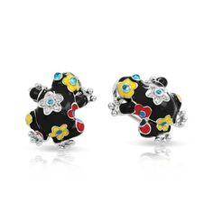Lucky Frog Black Earrings