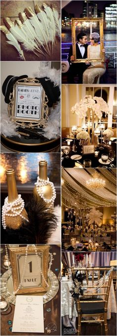 25 black and gold great gatsby-inspired wedding ideas - movies - . 25 Black and Gold Great Gatsby-Inspired Wedding Ideas - Movies - # STEP-B. Great Gatsby Themed Party, Great Gatsby Wedding, Trendy Wedding, 1920 Theme Party, Wedding Simple, Glamorous Wedding, Prom Themes, Wedding Themes, Wedding Ideas