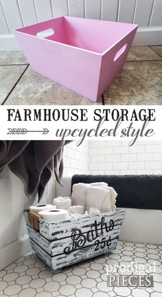 Farmhouse Bathroom Storage ~ Upcycling F. - DIY Farmhouse Bathroom Storage from a Thrifted Pink Bin Dollar Tree Decor, Dollar Tree Crafts, Dollar Tree Fall, Diy Casa, Diy Furniture, Farmhouse Furniture, Bathroom Furniture, Furniture Stores, Diy Home Decor