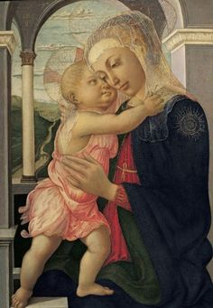 """Alessandro di Mariano Filipepi, known as Sandro Botticelli (Florence, 1445-1510):  The Madonna and Child (""""Madonna of the Loggia""""), ca. 1466-1467  Oil on panel, and restored in the late 19thC"""