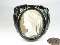 ANTIQUE VICTORIAN PERIOD WHITBY JET BRACELET w/ FINELY CARVED CAMEO of DEMETER