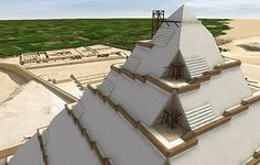 This digital image shows the interior ramps that may have been used to build the upper sections. Such ramps would have been covered by layers of stone that gave the pyramid its smooth appearance. (click for article)