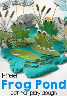 Adding props to play dough! This free frog pond play dough set will combine science and play time! Learn about life cycles and habitats while playing with play dough. Frog Activities, Playdough Activities, Spring Activities, Sequencing Activities, Motor Activities, Frogs Preschool, Preschool Crafts, Preschool Kindergarten, Frosch Illustration