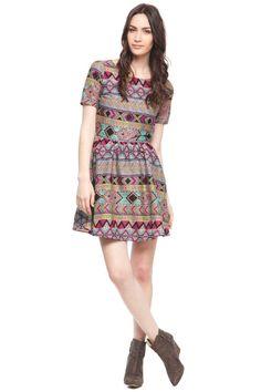 Aztec printed short sleeve dress