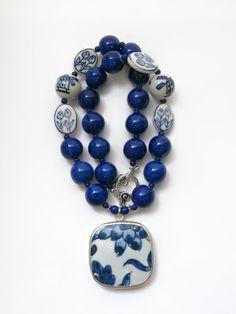 Indigo Blue Statement Necklace, Pottery Shard Jewelry, Dutch Windmills & Tulips by polishedtwo, $32.00