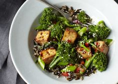 Teriyaki Tofu Broccolette on Wild Rice via @Meatless Monday