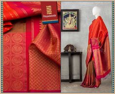 Strikingly encased annapakshi birds are positioned on the broad border. The pallu is an elaborate affair.  Long lines of bhutti dot the very yummy red body. #Utppalakshi #Silksaree#Kancheevaramsilksaree#Kanchipuramsilks #Ethinc#Indian #traditional #dress#wedding #silk #saree #weaving#Chennai #boutique #vibrant#exquisit#weddingsaree#sareedesign #colorful #vivid #indian #southindian #bridal #festival #sophistication   https://www.facebook.com/Utppalakshi/   Contact: 097899 37149