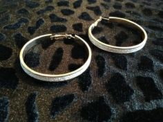 Gold Hoop Earrings with Diamond Dust for sale at Glamhairus.com