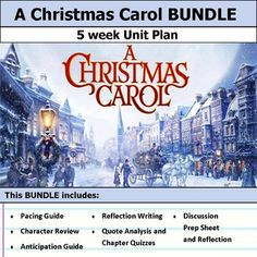 """5 weeks of lesson plans.  Includes pacing guide, film essay, activities, chapter quizzes, and discussions.  This bundle has everything you need to get started teaching A Christmas Carol in an engaging way!Anticipation Guide & Reflection:Get students making """"big picture"""" connections with this anticipation guide and reflective writing."""