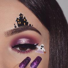 50 besten Halloween-Augen-Make-up-Ideen sieht Trends - # . - Make Up - Eye-Makeup Maquillage Halloween Clown, Halloween Eyeshadow, Cute Halloween Makeup, Halloween Party, Halloween Night, Creative Eye Makeup, Eye Makeup Art, Eyeshadow Makeup, Glow Makeup