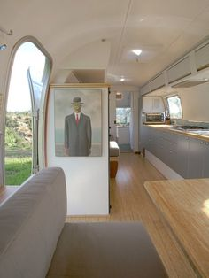 Restored Airstream trailer with natural bamboo flooring and plywood. Made by Hofmann Architecture - http://hofarc.com/