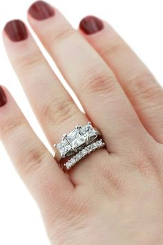 Mix and match set - Debbie Three Stone Ring with Bianca Diamond Band.