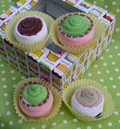 cupcakes: washcloths & socks
