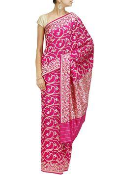 Rani pink jaal jangla sari by TAJ KHAZANA. Shop now at: http://www.perniaspopupshop.com/designers-1/taj-khazana #shopnow #perniaspopupshop #taj #khazana #love #beautiful #fashion #sarees #collaboration #magazine #coverstory #amazing #falaknumapalace #style