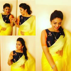 Beautiful sreemukhi in Keerthna Sunil designed sunshine yellow plain saree with micky mouse design hand embroidery crop top. 24 July 2017
