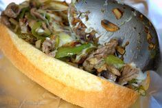 The Ooey Gooey Cheesesteak Sandwich: A mess of thinly sliced strip steak with peppers, onions, and mushrooms, melted with a cheese whiz cheese and provolone and stuffed into a hoagie roll. Soup And Sandwich, Sandwich Recipes, Wrap Recipes, Dinner Recipes, Wrap Sandwiches, Steak Sandwiches, Cheesesteak, Soups And Stews, Cooking Recipes