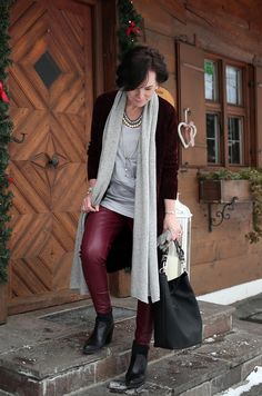 Long velvet knit cardigan and faux leather leggings in burgundy #fashionover50 #maturestyle
