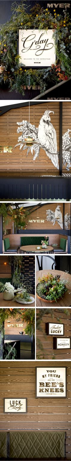 beautiful native arrangement and window display at Myer by gloss creative Table Flower Arrangements, Table Flowers, Cafe Design, Store Design, Spring Racing Carnival, Merchandising Displays, Event Styling, Restaurant Design, Tropical