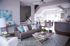 turquoise and grey livingroom - Google Search