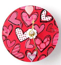 Heart Clock  Upcycled CD Clock by AllAboutTheButtons for $19.50