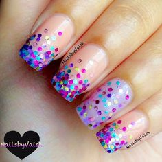 """""""SprinkleMePink!"""" - beautiful nude with multi colored tips. full multi colored detail on ring finger. #gorg!"""