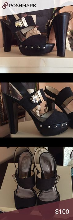 Coach Darcey Heel  So gorgeous! But I must reposh, not my size! !!!  Platform heel, very comfortable. I am open to reasonable offers!  original owner used twice, but are in excellent condition... I atleast want to get back what I paid for them ☺️NO TRADES SORRY Coach Shoes Platforms