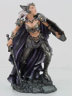 VALKYRIE FEMALE WARRIOR STATUE.NORSE MYTHOLOGY FIGURINE.ARMORED.ACTION FIGURE