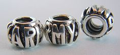 """""""ARMY"""" Silver Plate Over White Copper Large Hole European Bead NEW"""