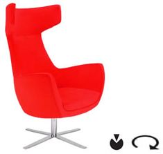 Aceray DIVA high back swivel armchair with Polished Chrome 4-Prong Steel Swivel Base.