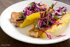 "These are our vegan version of 'fish' tacos, which we enjoyed last night. Yield: 8 tacos Ingredients: 1 16 ounce block tofu, sliced in long ""finger/strips"" 1/4 small red cabbage, thinly sliced or s..."
